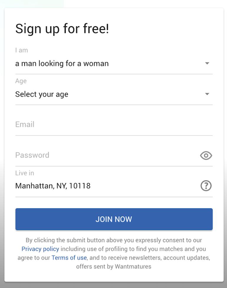 WantMatures registration
