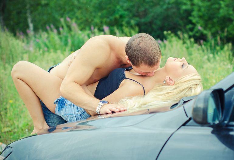 having sex on the car