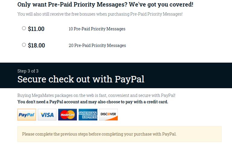 Prepaid priority messaging Megamates