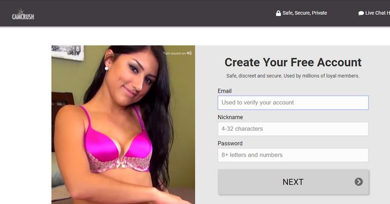 create an account on Camcrush