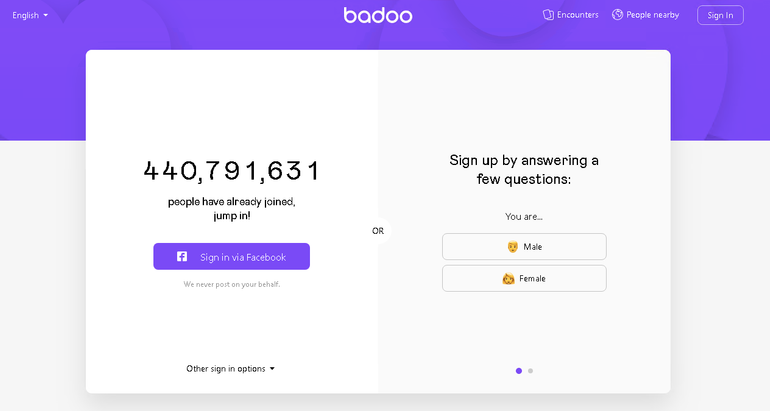 badoo main page