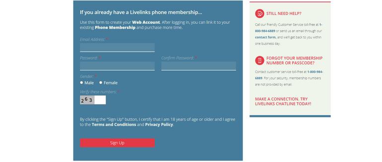 livelinks Registration