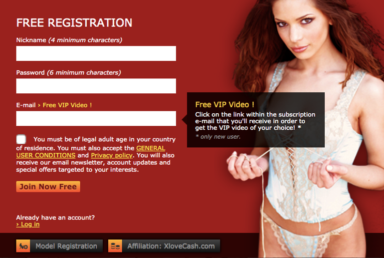 Xlovecam registration