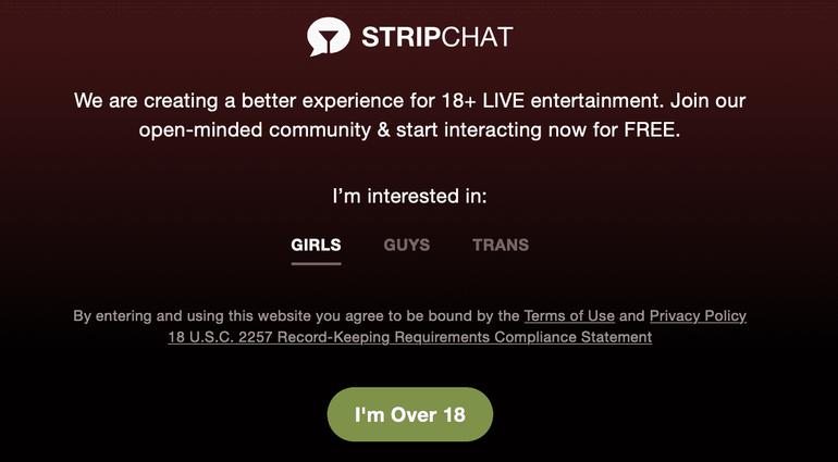 Stripchat login page