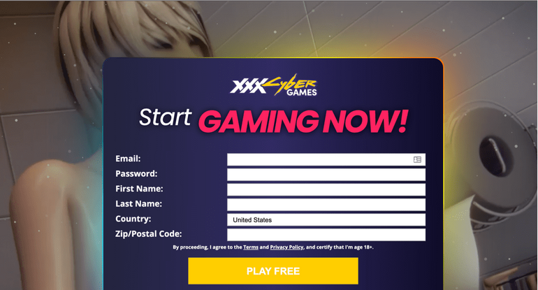 xxxcybergames sign up